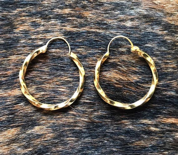 14k gold twisted hoops