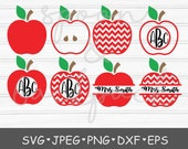 Monogram apple cut file, teacher svg, svg, teacher gift svg, monogram cut file, silhouette cut file, cricut, apple svg, back to school svg