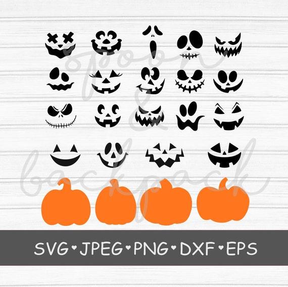 Pumpkin Face svg Jack O Lantern Faces Cute Halloween Faces