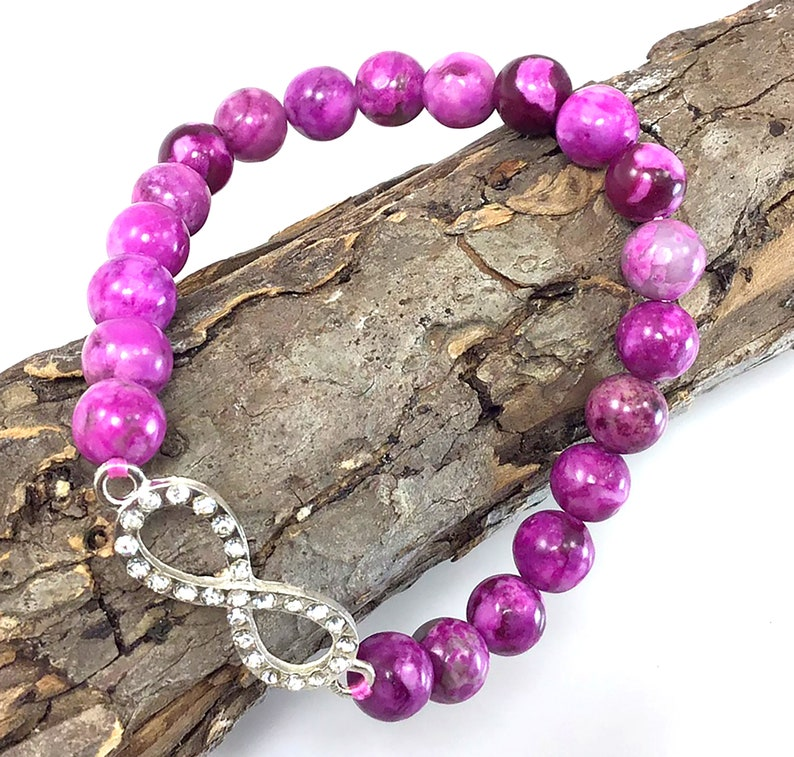 Healing anxiety relief spiritual balancing calming stretchy gift for women Purple Sugilite Beaded Bracelet with infinity pendant