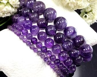 Natural Purple Amethyst Bracelet, February Birthstone Bracelet, Amethyst Jewelry, Healing Crystal Elastic Bracelet, 4mm 6mm 8mm 10mm 12mm