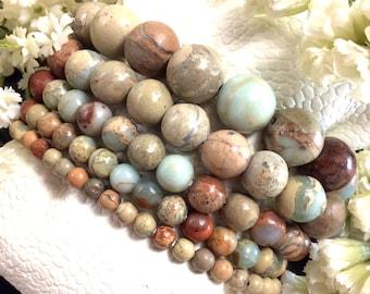 Ocean Jasper Bracelet, Jasper Bracelet, Stretchy String Bracelet, Healing Crystal Gemstone, Protection Bracelet gift 4mm 6mm 8mm 10mm 12mm