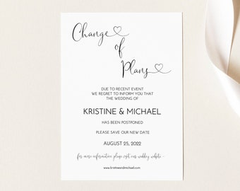 8081 Wedding Postponed Announcement Template Change of Plans Announcement Template Wedding Postponement Postcard Reschedule Download