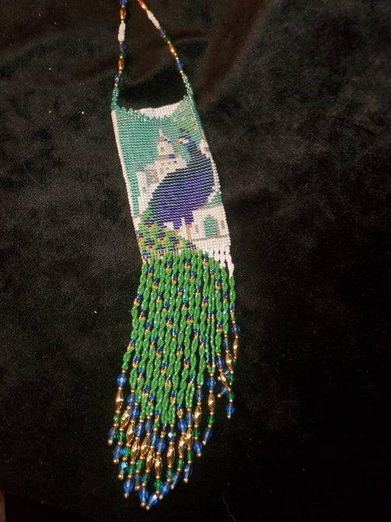 Vintage Hand Beaded Peacock Neck Pouch