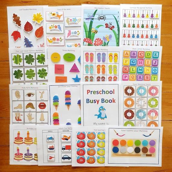 Preschool Busy Book Bundle Printable Shapes Alphabet
