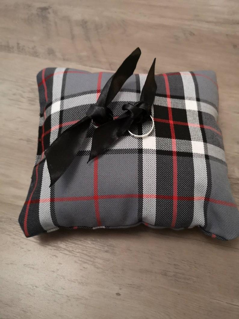 Tartan wedding rings cushion  Thompson Grey tartan image 0