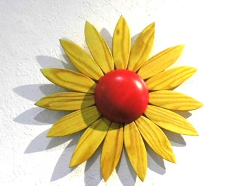 """decorative wall music box SONNENBLUME handmade from wood with the melody """"Mozart's lullaby"""", baptismal gift"""