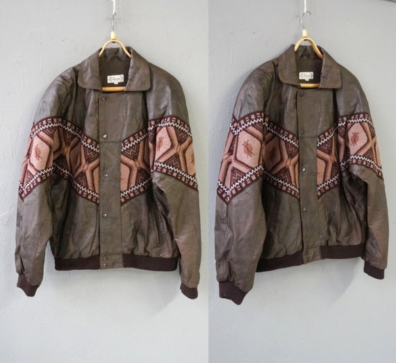 Vintage 90s Leather Jacket Mens Brown Leather Knit
