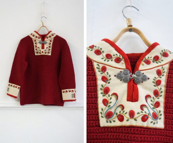 Vintage 90s Red Knitted Sweater Dirndl Red Sweater