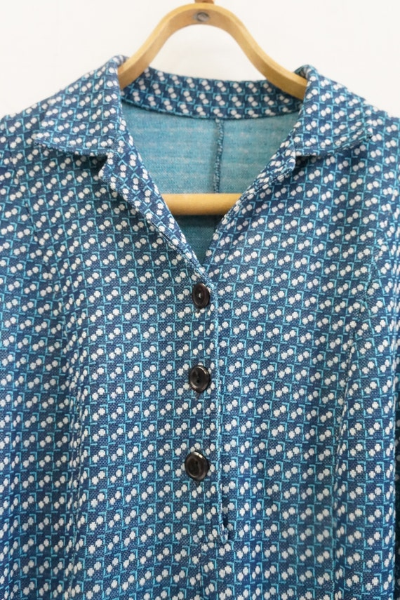 Vintage Plaid Blue Dress Womens Patterned Dress B… - image 7