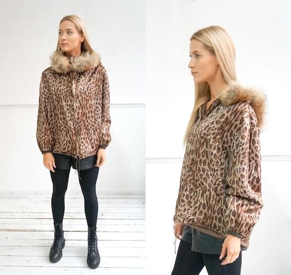 Vintage 90s Leopard Jacket Fur Hood Jacket Animal