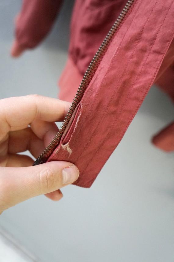 Vintag 90s Pastel Red Bomber Jacket Pink Silk Bom… - image 7