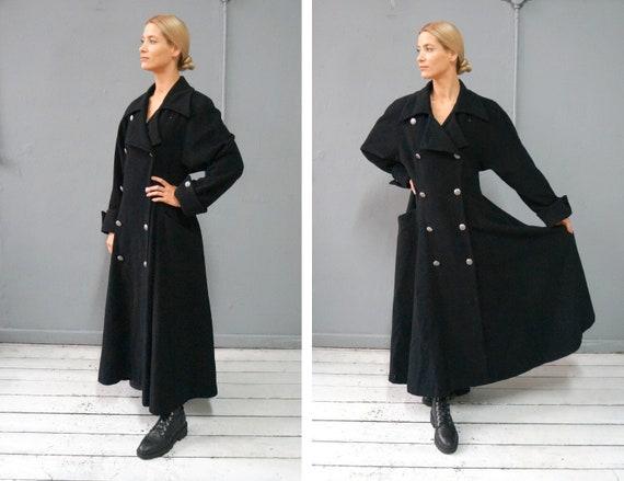 Vintage 90s Wool Coat Long Black Coat Gothic Wool