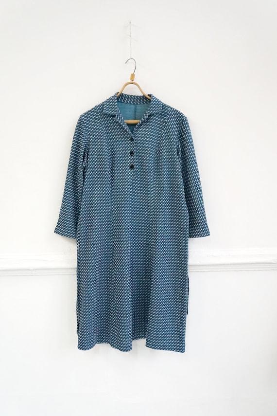 Vintage Plaid Blue Dress Womens Patterned Dress B… - image 3