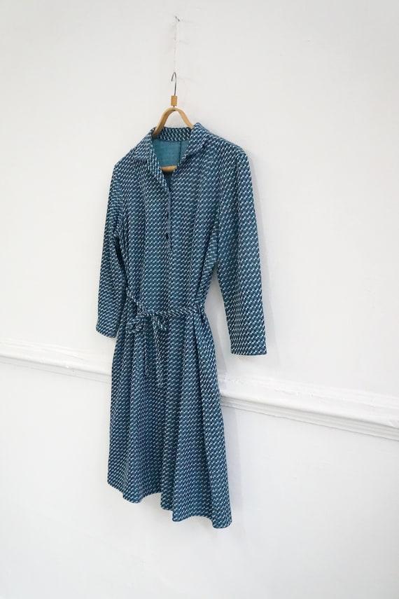 Vintage Plaid Blue Dress Womens Patterned Dress B… - image 4