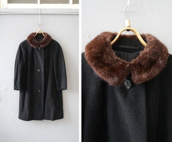 Vintage 90s Wool Coat Womens M Wool Overcoat Black