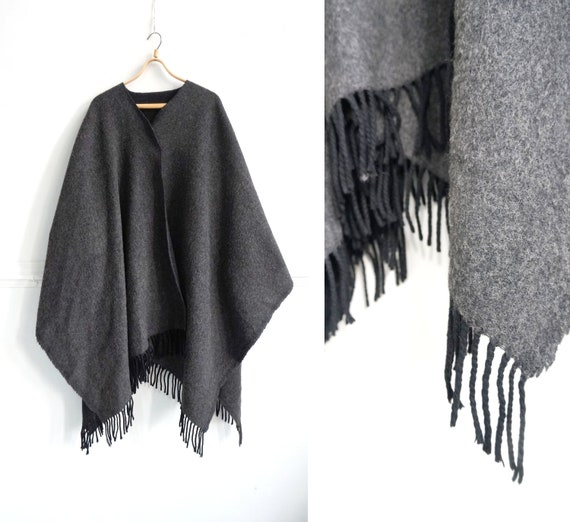 Vintage Cape Coat Women Wool Poncho Coat Gray Wool