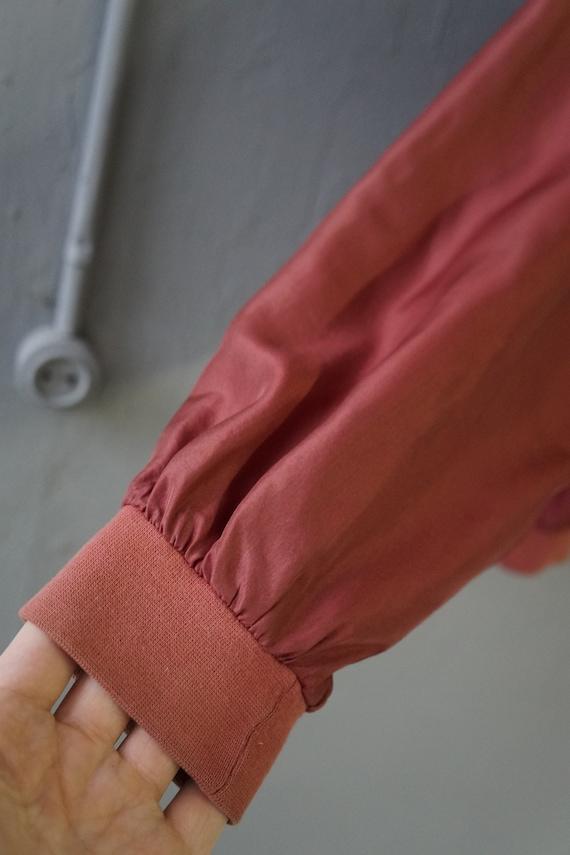 Vintag 90s Pastel Red Bomber Jacket Pink Silk Bom… - image 8