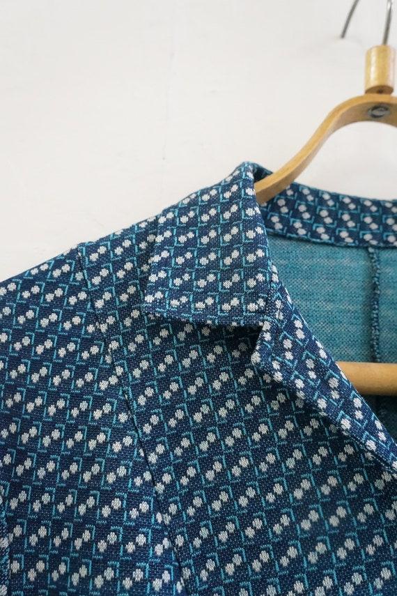 Vintage Plaid Blue Dress Womens Patterned Dress B… - image 10