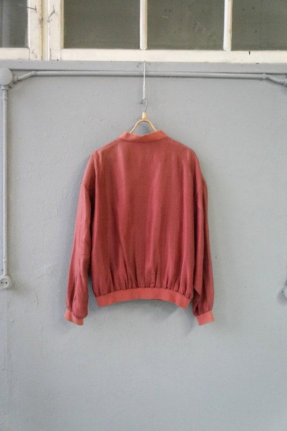 Vintag 90s Pastel Red Bomber Jacket Pink Silk Bom… - image 6