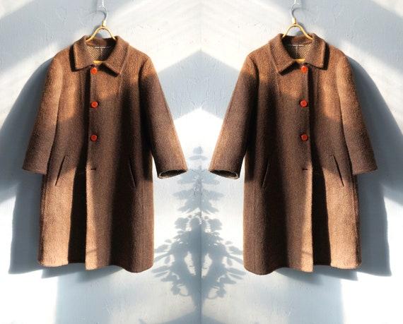 Vintage Wool Coat Womens L Wool Jacket Brown Winte