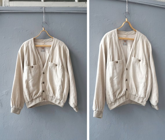Vintage 90s Linen Bomber Jacket Mens Linen Jacket