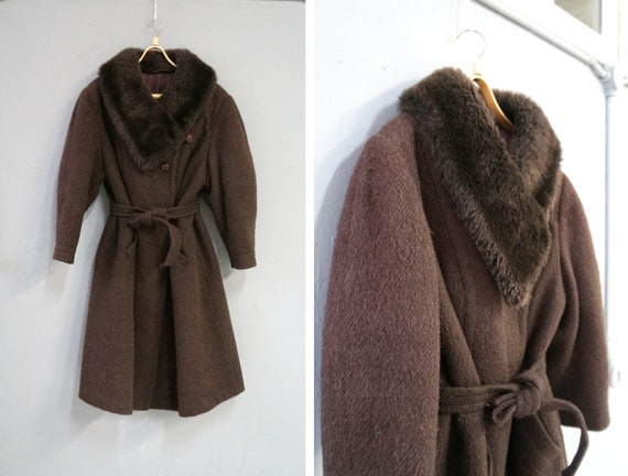 Vintage 80s Wool Coat Womens L XL Wool Brown Coat
