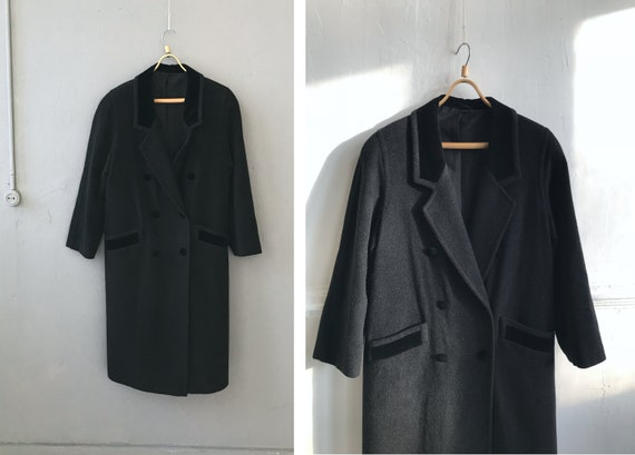 Vintage Oversize Black Coat Womens L Black Maxi Co