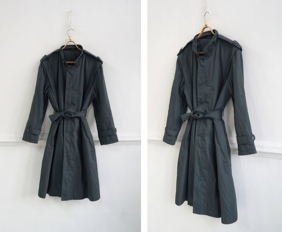 Vintage 80s Trench Coat Gray Mens Trench Coat Wome
