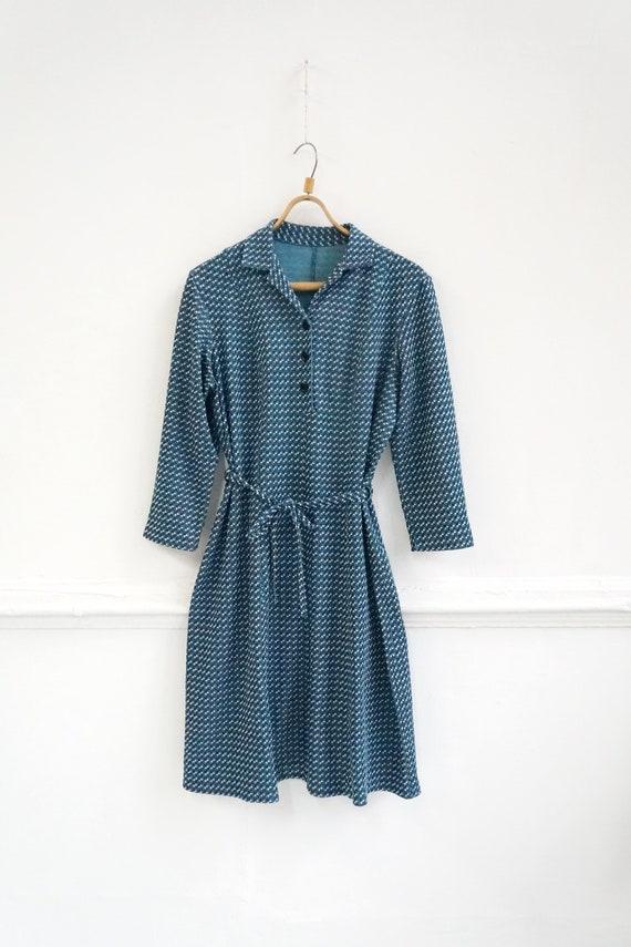 Vintage Plaid Blue Dress Womens Patterned Dress B… - image 2