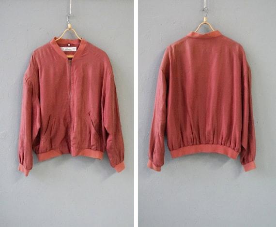 Vintag 90s Pastel Red Bomber Jacket Pink Silk Bom… - image 1