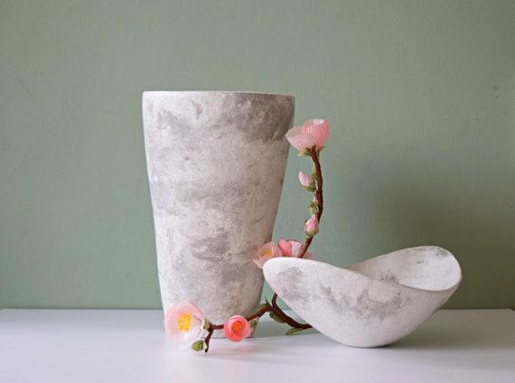 Large Concrete Vase Marble Vase Vase For Living Room Etsy