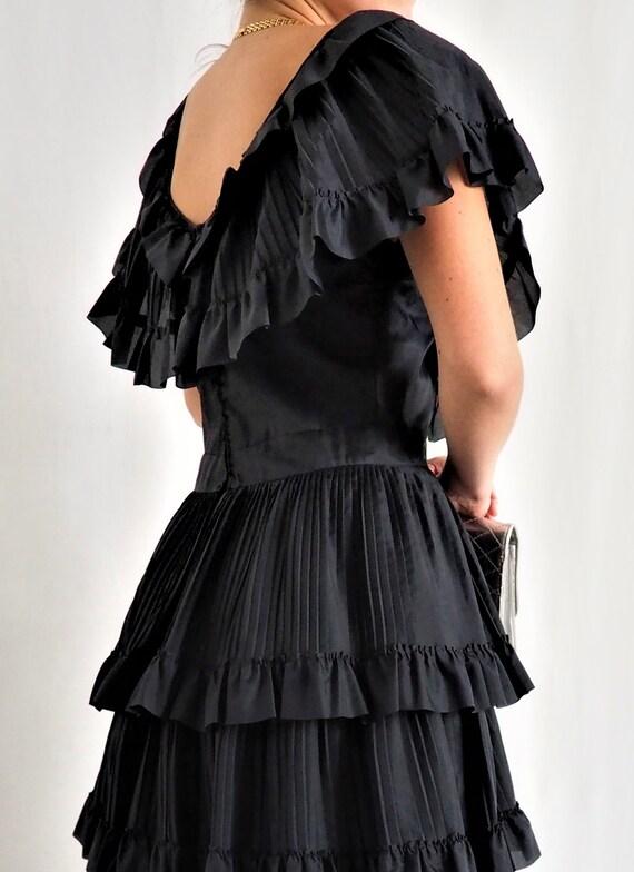 RARE little black dress with vintage ruffles / Vi… - image 4