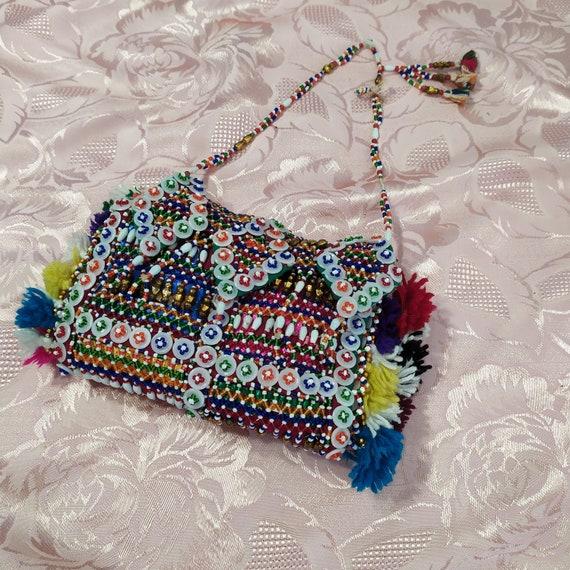 Vintage Pearl Tribal Bag 1990 / 90s purse / handba
