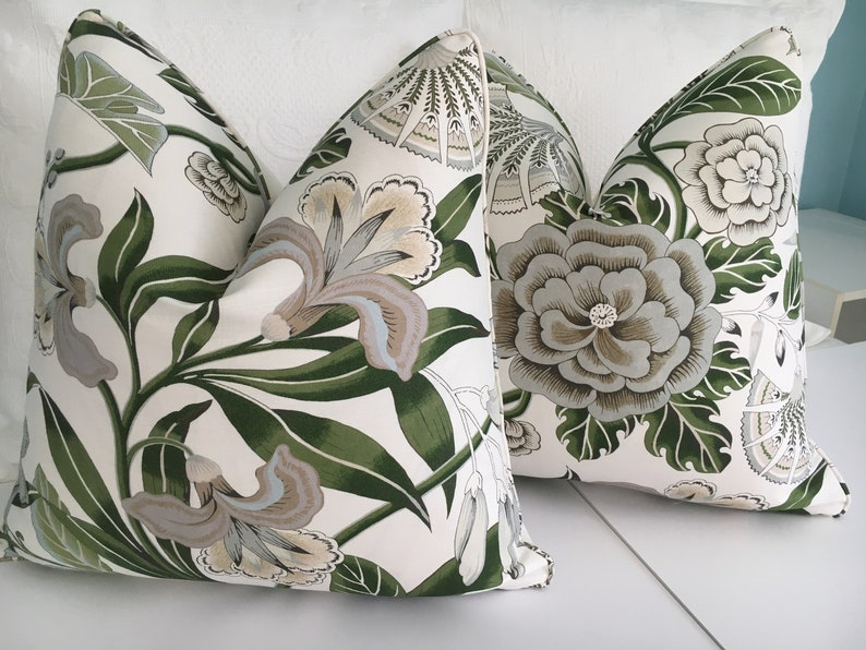 Accent Pillow Sofa Pillow. High End pillow cover Anna French Cleo Floral Designer pillow cover Green and white Decorative pillow cover