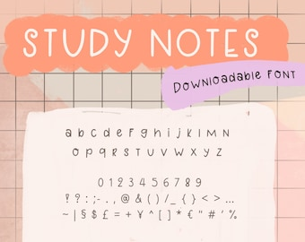 Study Notes ~ Downloadable Font   .ttf .otf files   Sans Serif   Journaling   Handwriting   The Daily Planners