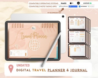 Digital TRAVEL Planner & Journal ⋒ To use in GoodNotes, Noteshelf, Xodo, Notability ⋒ Traveling ⋒ Vacation ⋒ Packing list ⋒ Activities ⋒