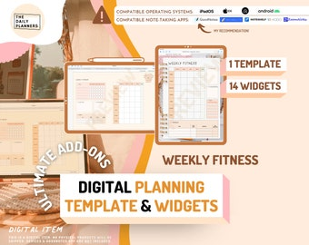 Ultimate ADD-ONS Weekly FITNESS for Digital Planning   Use in GoodNotes, Notability, Noteshelf, Xodo, Zoomnotes   Digital item
