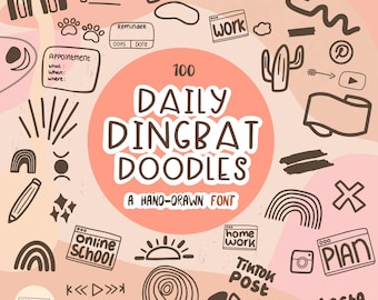 Daily Dingbats Font - For Digital Planning in GoodNotes, Noteshelf, Procreate & more apps   Typeface Doodles   Digital Planning   .TTF .OTF