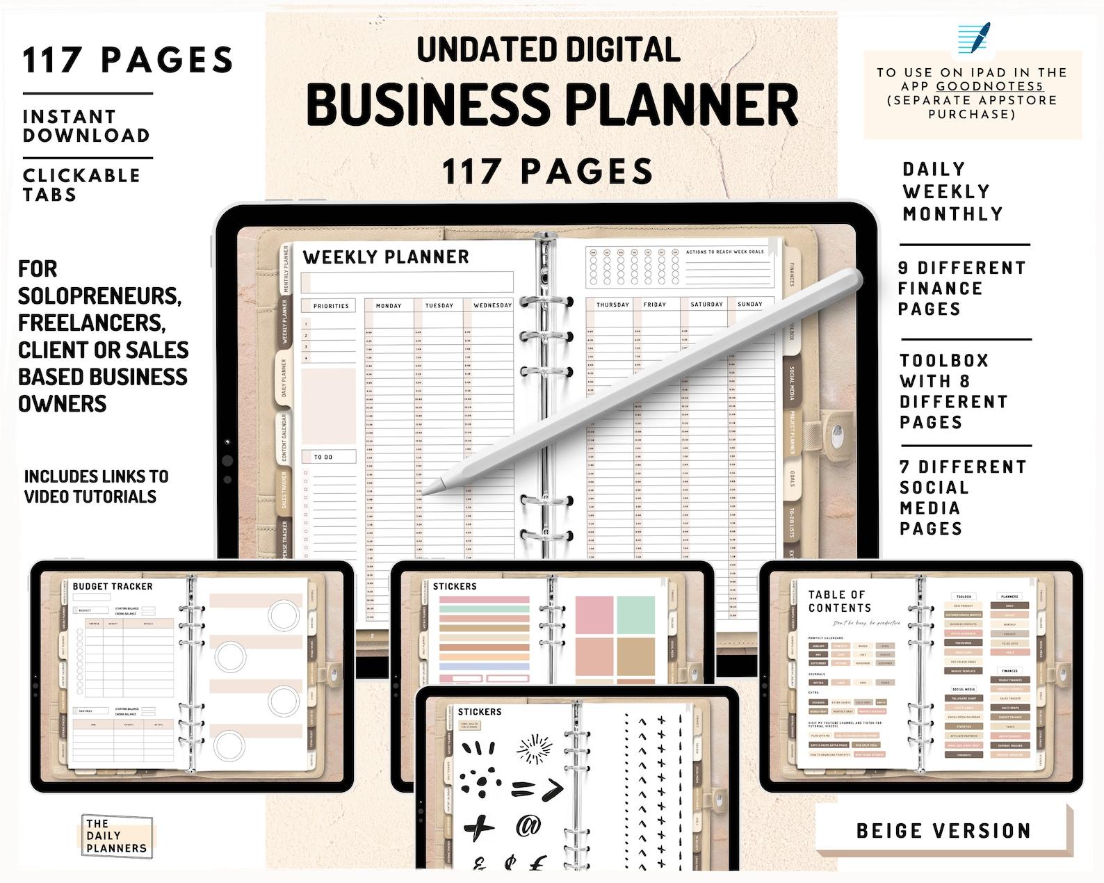 Undated Digital Business Planner