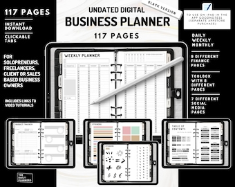 Undated Digital Business Planner [Black] - Daily, Weekly, Monthly - Project Planner - Finances Goodnotes [THE DAILY PLANNERS]