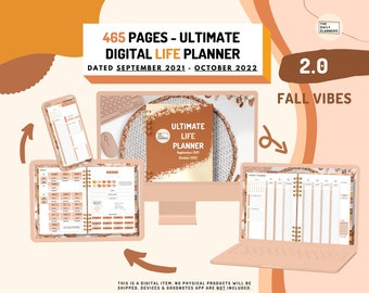 2.0 Ultimate LIFE Planner FALL   DATED Digital Planner GoodNotes, Noteshelf   Finances, Fitness, Daily Life, 58 Extra templates   90 Widgets
