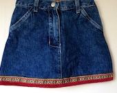 Girls vintage boho denim skirt, jean skirt, vintage H and M, country, folksy
