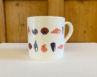 Shells and winter seaside colors hand painted coffee cup