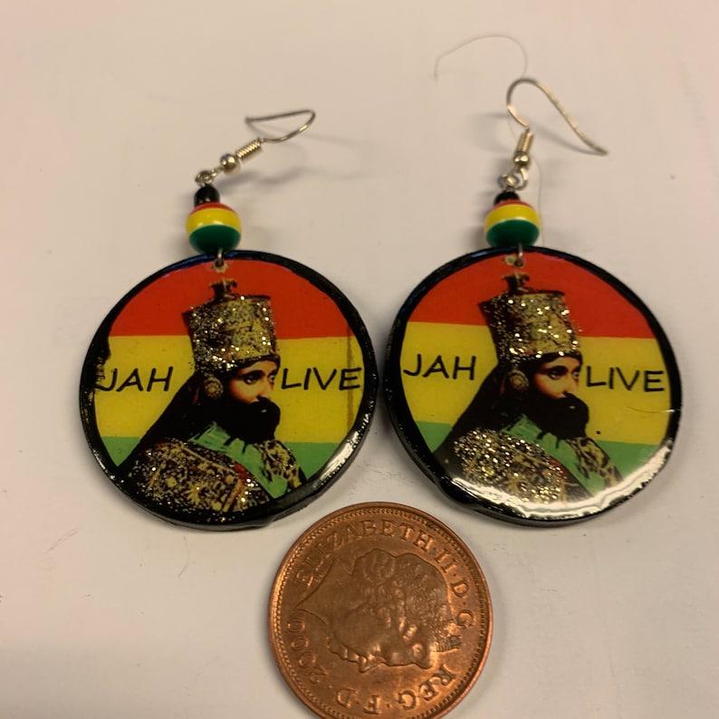 Selassie wooden circle earrings