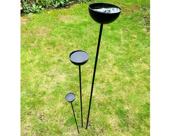 Rain Catchers - not rusty, 20+ colours, 3 sizes! Plant stakes, plant support, rain cup, garden sculpture, metal supports, metal stakes,