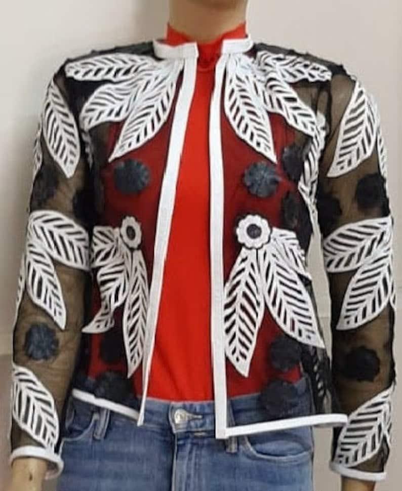 Black and White Leaf Streetwear Summer Jacket Genuine Leather Lace Jacket