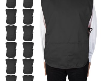 12 Pack of Cobbler Aprons (29x20) with Two Deep Pockets, Poly/Cotton Adjustable Apron for Gardening, Grilling, Hospitals, Cafes
