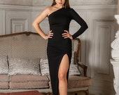 One shoulder dress, Asymmetric dress with open leg, Black skin-tight dress, Bodycon dress, Black formal dress, Women royalty black dress