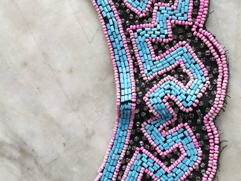 1930s pink blue and black beaded collar.